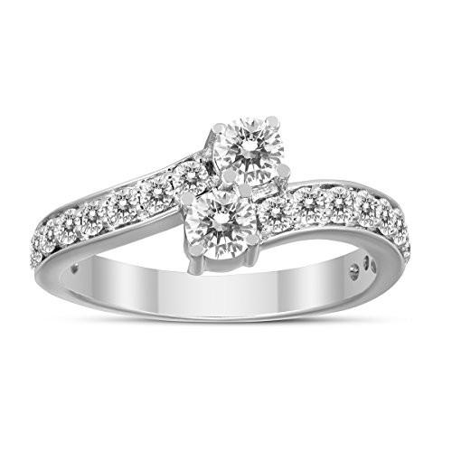 【超特価sale開催!】 1 Carat Forever Us Diamond Two Stone Engagement Ring 10K White Gold, 倉岳町 62a39c33