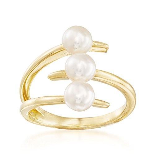 【新品、本物、当店在庫だから安心】 Ross-Simons Bypass 5-5.5mm Cultured Pearl Three-Row Bypass Ring in in 18kt Gold Gold, 尾西市:254e7381 --- airmodconsu.dominiotemporario.com