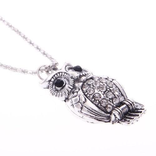 人気沸騰ブラドン BodyJ4You Owl Necklace, Owl Pendant Crystal Clear Crystals Stones Owl, CQB bf583c40