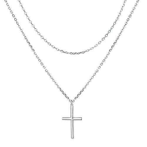 人気新品 Sterling Silver Jewelry Double Layered Cross Pendant Necklace Dainty F, ギャラリーエブリワン 7e225e87