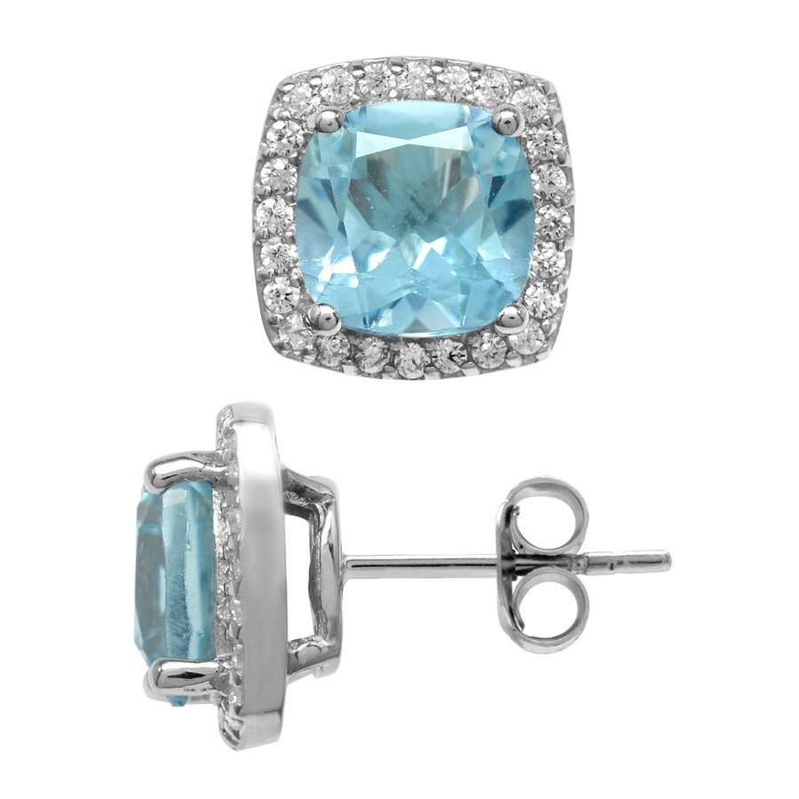 2019春大特価セール! 5.2ct. Genuine Cushion Shape Blue Topaz White Gold Plated 925 Sterling, ワークライブ ab6c310e