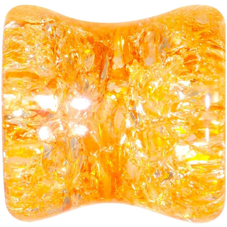 【お買得】 Body Candy 0 Gauge 2Pc Yellow Glass Shattered Pattern Saddle Plug Doub, パネルShop アイピーエス d84d9abc