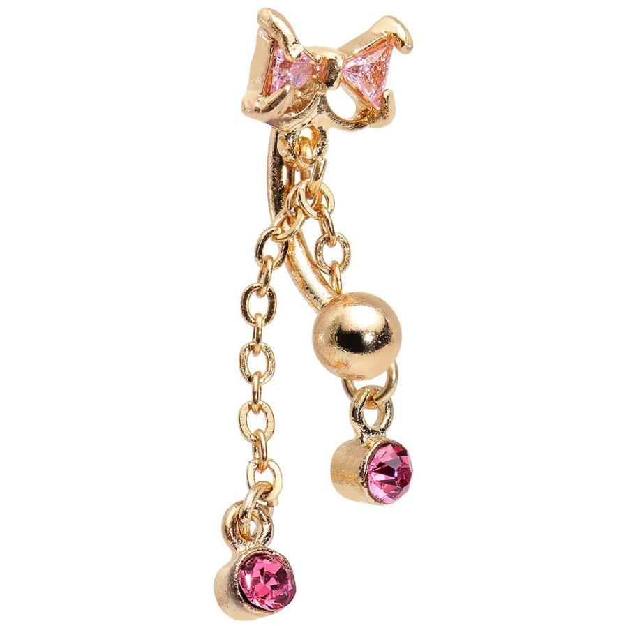 ホットセール Body Candy Gold IP Stainless Steel Pink Drops Sparkling Bow Top Mount, APAKABAR (アパカバール) d9493fd8