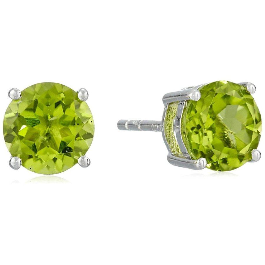 【限定特価】 Sterling Silver Peridot 7 mm Round Stud Earrings, 越前町 497f60a0