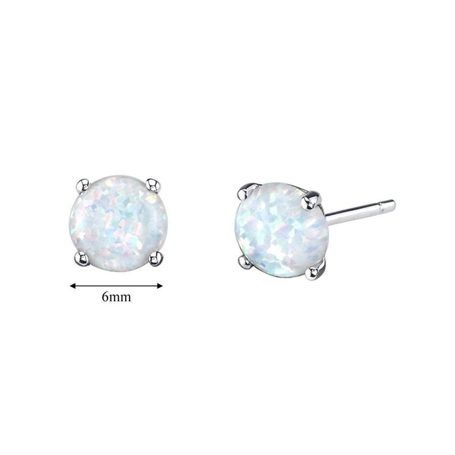 大人気新作 14K White Gold Round Cut Created Opal Stud Earrings, デジタルプリントPAO 68dd147c