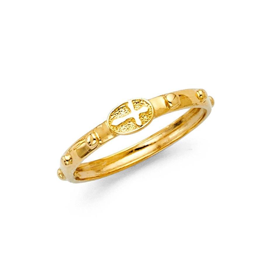 激安の Pure Cross 14k Pure Gold Yellow Size Cross Rosary Ring Beaded Eternity Christian Size, クゼムラ:bd42ce86 --- airmodconsu.dominiotemporario.com