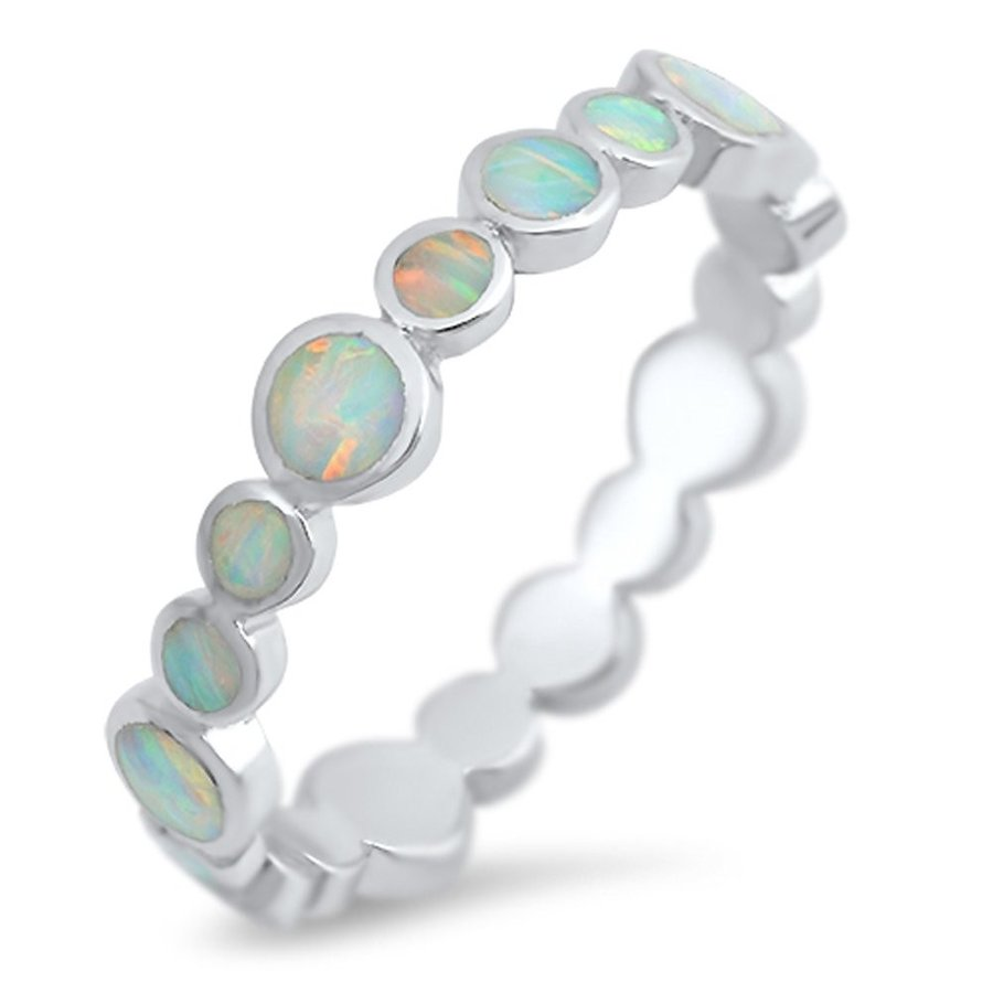 格安販売の Eternity White Simulated Opal Stackable Ring New .925 Sterling Silver, サガミコマチ c96b3796