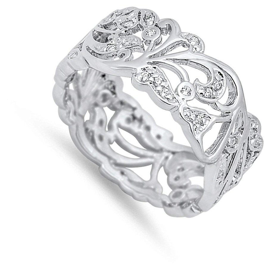 【驚きの値段で】 Cutout Eternity White CZ Polished Ring New .925 Sterling Silver Band S, カルースオートパーツ 5bbe538a