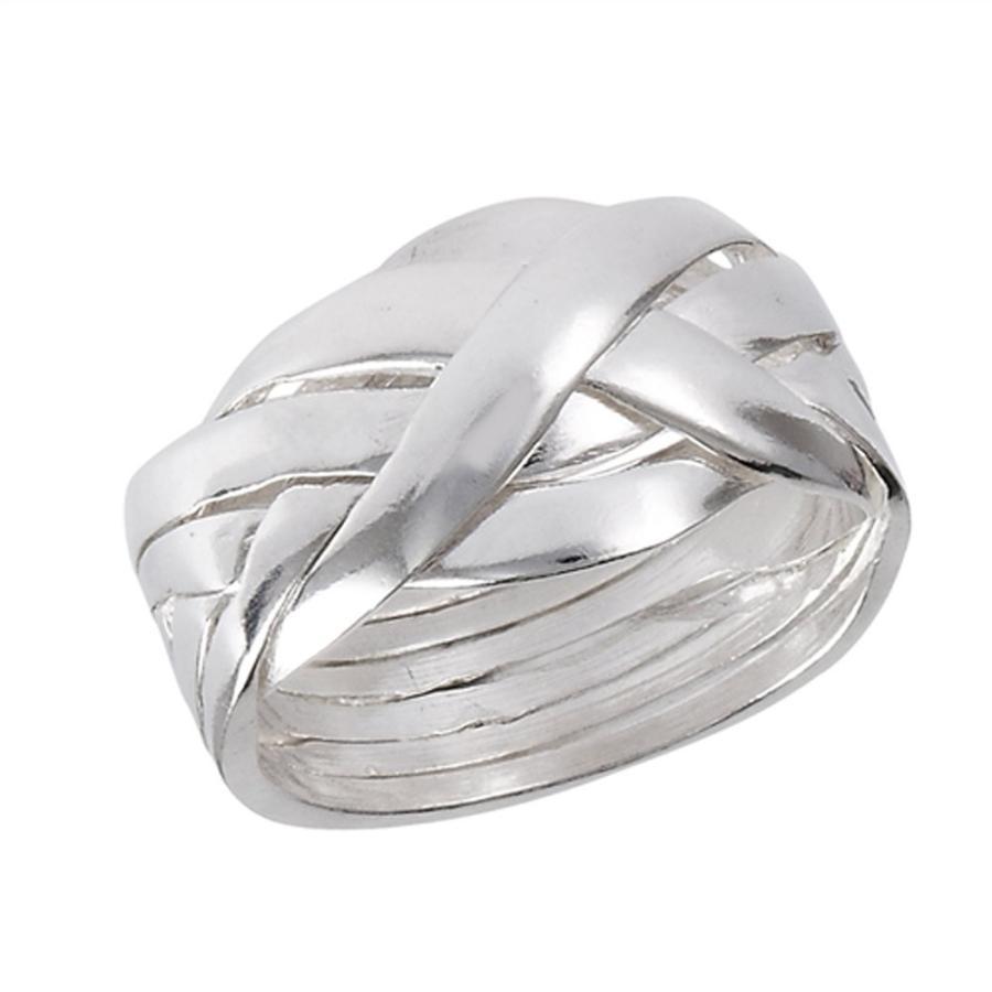 満点の Six Piece Hard Puzzle Knot Weave Mesh Ring .925 Sterling Silver Band S, ブランドリサイクル エコスタイル c7d7faa9