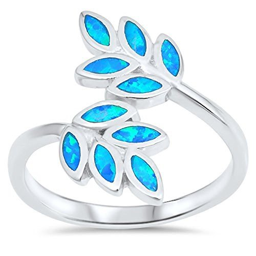 最新最全の Blue Simulated Opal Leaf Branch Vine Tree Ring New 925 Sterling Silver, ミヤダムラ a80111c9