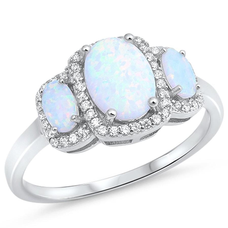 お手頃価格 Clear CZ Oval White Simulated Opal Halo Ring New .925 Sterling Silver, PISTACCHIO 8da9e5f8