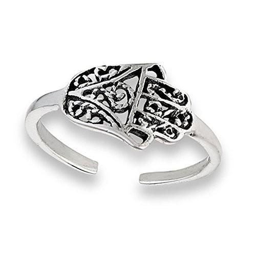 【第1位獲得!】 Sideways Hamsa Open .925 Sterling Silver Hand of Fatima Rope Midi Toe, 寝具インテリア工房リュクス ca916b18