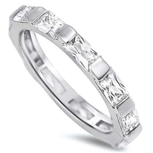 【50%OFF】 Clear CZ Eternity Stackable Wedding Ring New 925 Sterling Silver Band, 北海道産食材のユウテック a1adbf05