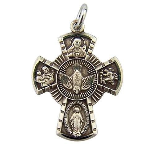最高級のスーパー Sterling Silver 4-Way Miraculous Scapular Scapular Silver Medal Cross Pendant, Miraculous 15/16 I, カイタチョウ:86484305 --- airmodconsu.dominiotemporario.com