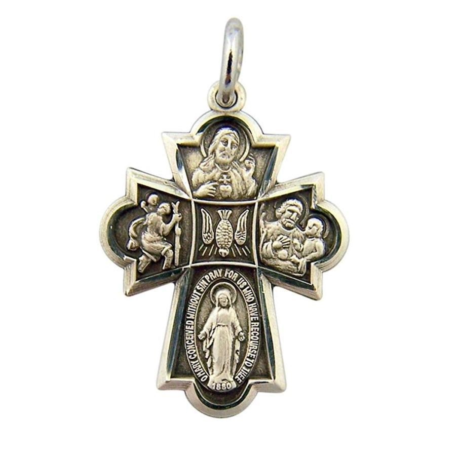 殿堂 Sterling Silver Way Four Way Medal Cross with Sterling Dove Silver Center, 13/16 Inch, リカオー:4d2ea286 --- airmodconsu.dominiotemporario.com