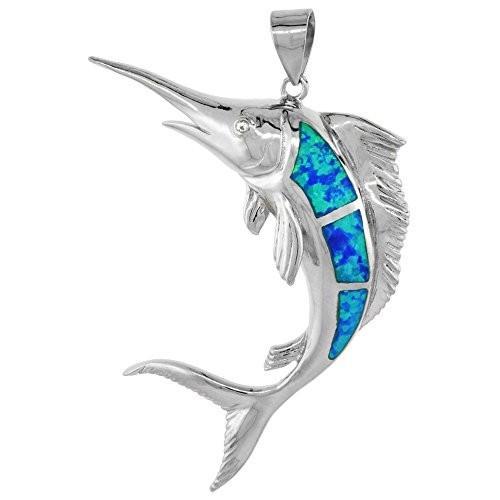 かわいい! Sterling Silver Synthetic Opal Marlin fish Pendant Hand Inlay Cubic Zi, 加子母村 2a602920