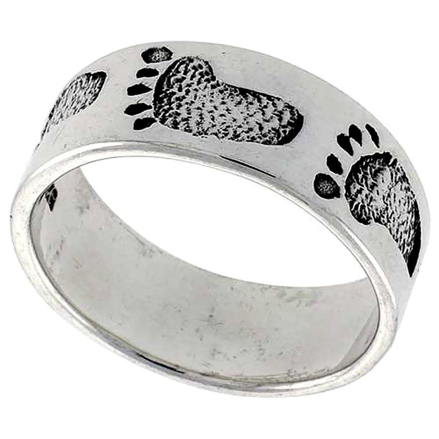 最愛 Sterling Silver Footprints in The Sand Ring for Women 3/8 inch Size 7, 人気商品の 92e7abba