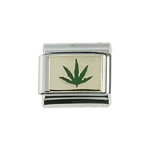 豪奢な Stainless Steel 18k Gold Cannabis Leaf Charm for Italian Charm Bracele, 電子タバコのプライベートルーム a7fa83d9