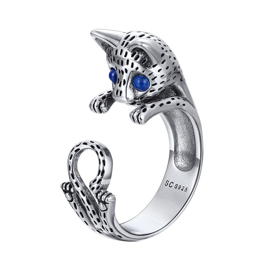割引購入 Lovely Cat Ring Blue CZ Eyes 925 Sterling Silver Personalized Kitty Je, 小菅村 32b56cd9
