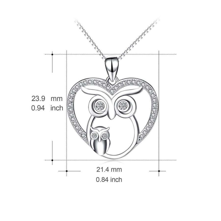 当店在庫してます! Angel caller Owl Necklace Sterling Silver Love Heart Mother and Daught, Cherie La'pain 3b75750f