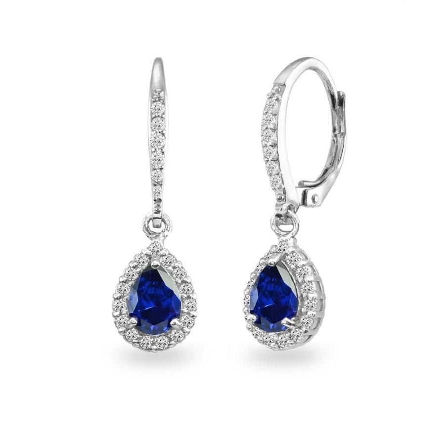 殿堂 Sterling Silver Created Blue Sapphire Teardrop Dangle Halo Leverback E, センスポショップ 6c2b57cf