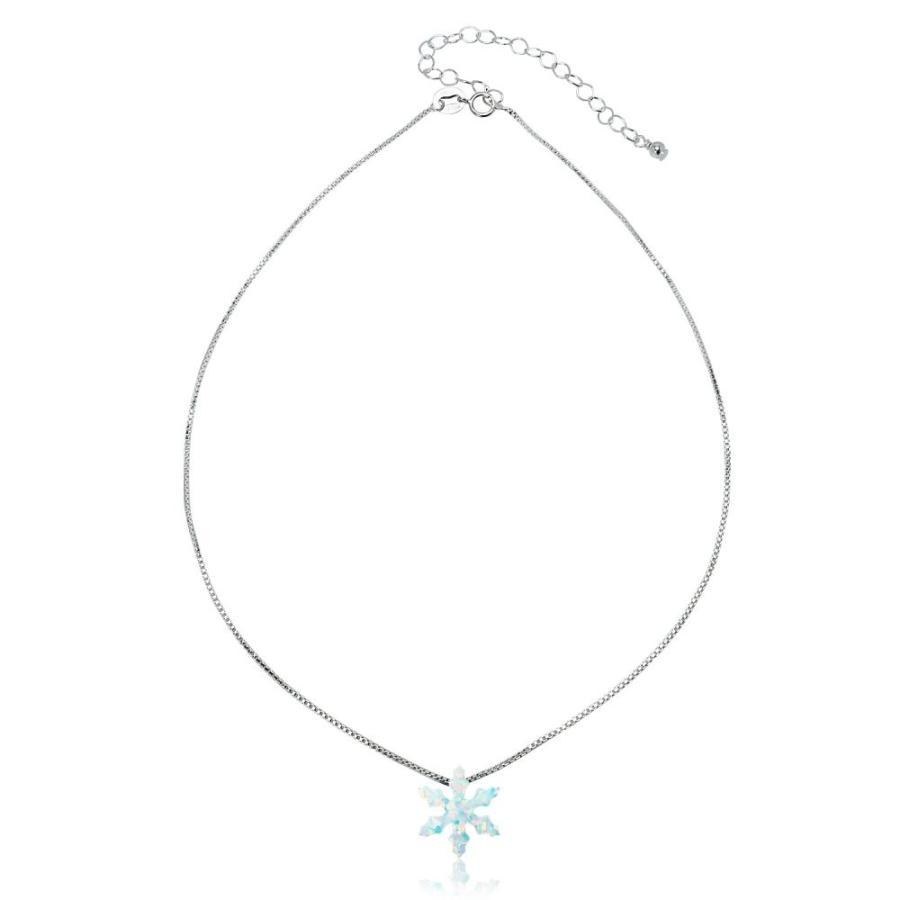 2019年春の GemStar USA Sterling Silver Created White Opal Snowflake Dainty Choker, 水窪町 e6a0d17a