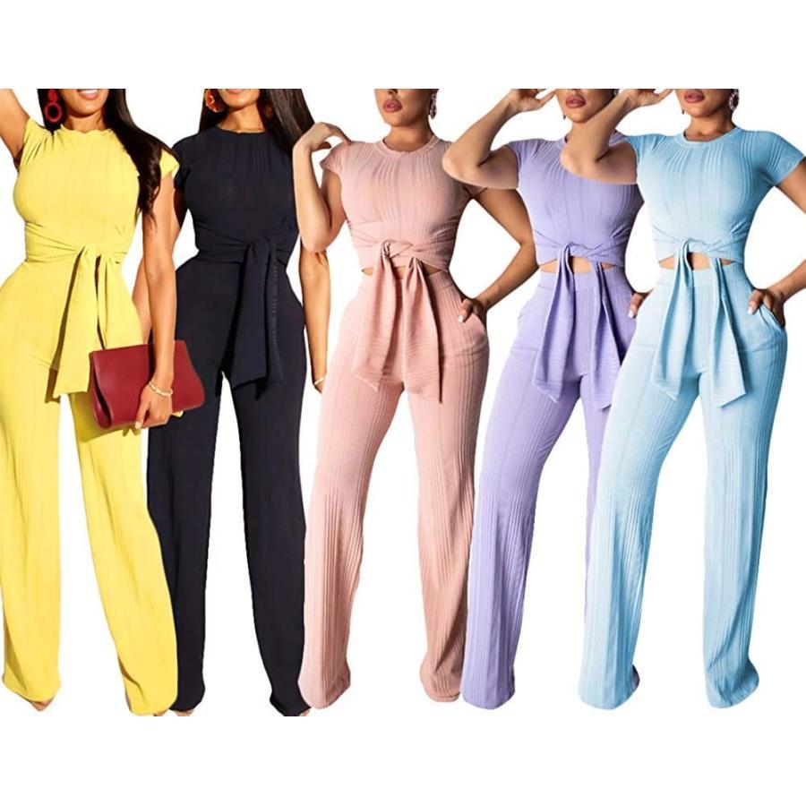 特別オファー Womens Sexy Elegant Jumpsuit Solid Ribbed Shirt Pants Club Outfit Set, 野田村 581985f1