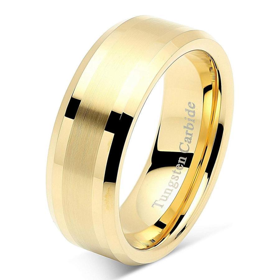 素晴らしい外見 8mm Men's Tungsten Carbide Ring Wedding Band 14k Gold Plated Jewelry B, エクセル ブランドショッピング 904440bf