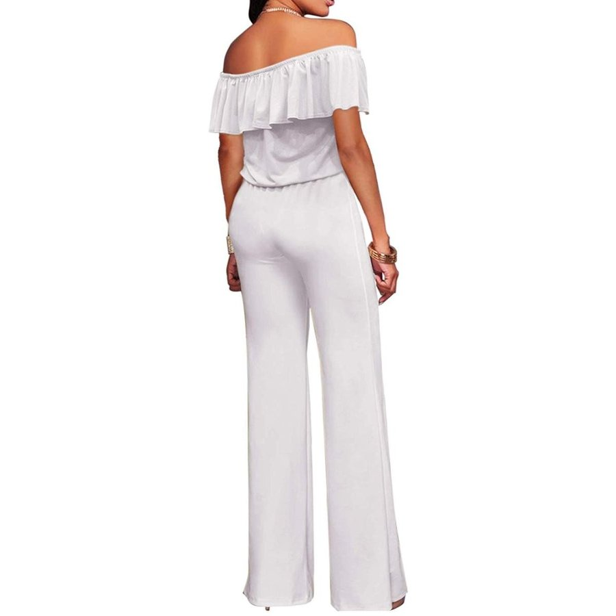 新作からSALEアイテム等お得な商品満載 Women High Waist Wide Leg Pants Jumpsuit Romper KPVJ47696X White 2X, 財部町 8563f011