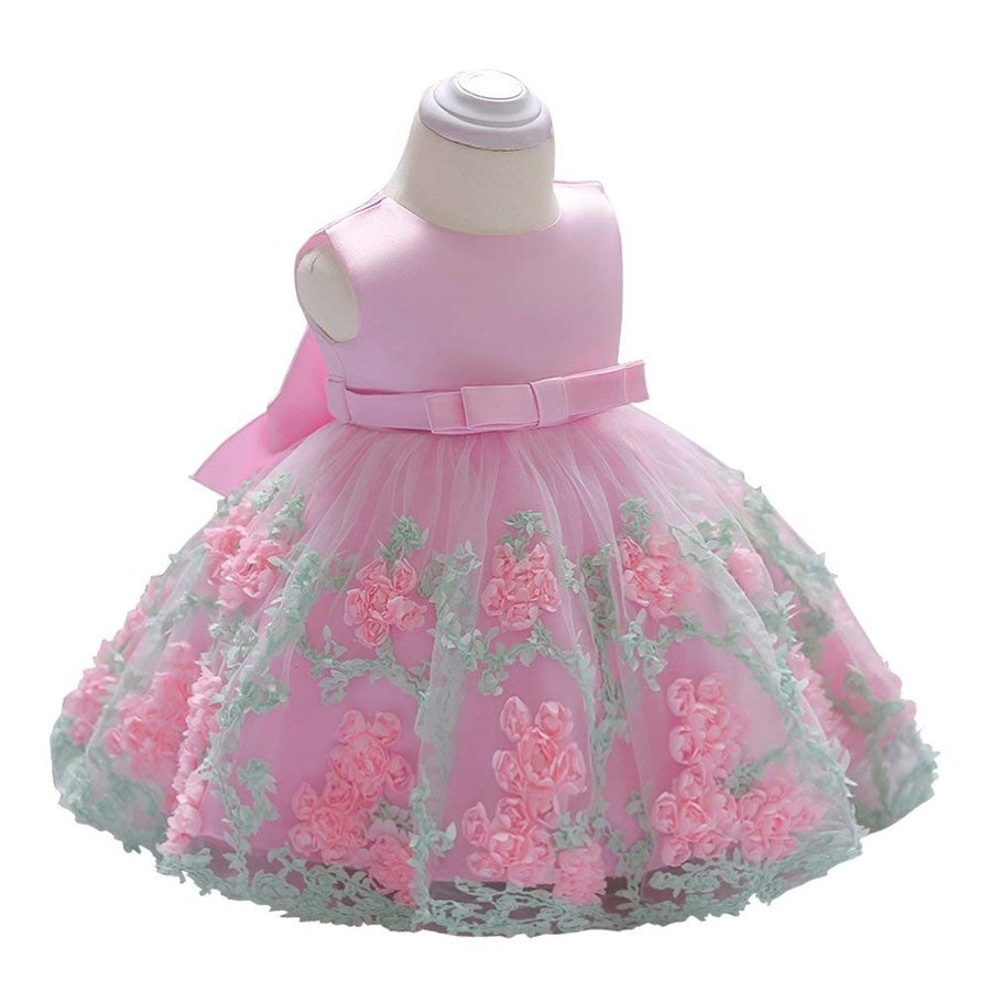 LZH Baby Girl Dress Formal Christening Baptism Gowns Pageant Dress Toddler