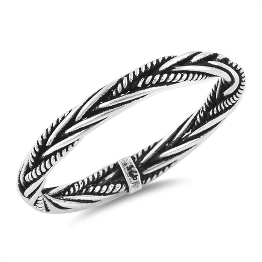 Oxidized Braided Rope Weave Wedding Ring New 925 Sterling 銀 Band