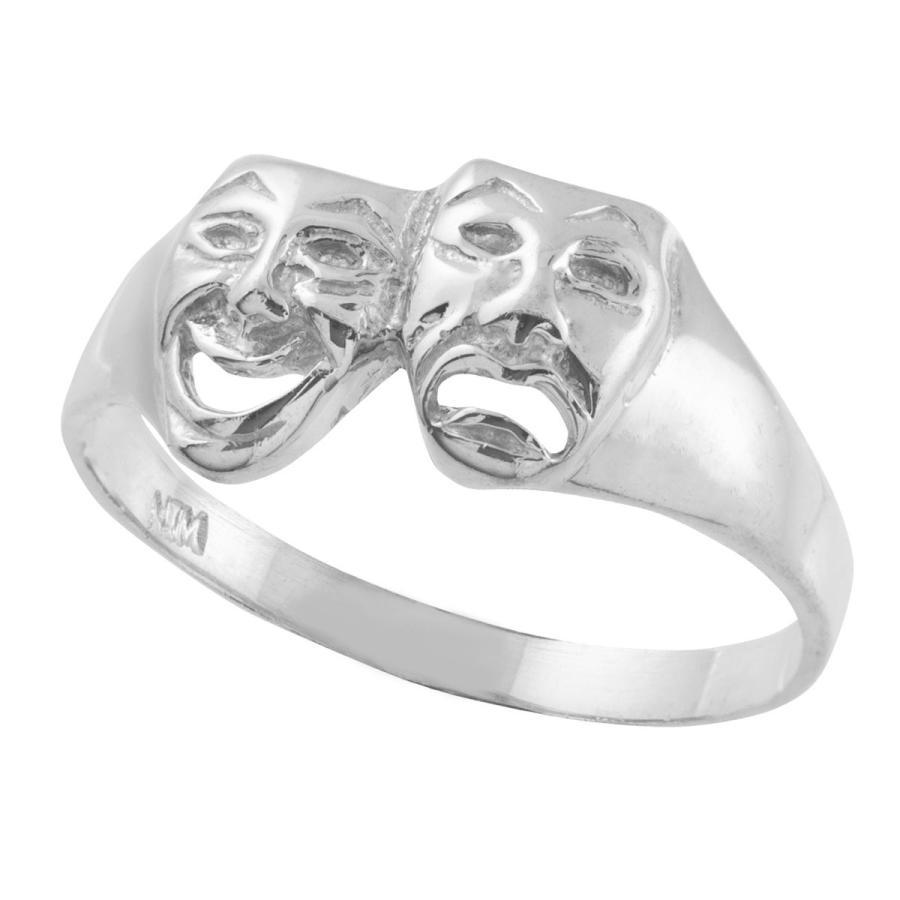 【翌日発送可能】 Women's 925 Sterling Silver High Polish Band Theater Acting Masks of C, ナックたすかる f455107a