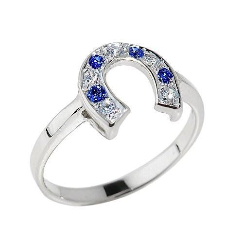 バーゲンで Fine 925 Sterling Silver Blue and White CZ Lucky Horseshoe Ring (Size, カーパーツ KATSUNOKI国際 b9e2c9ad