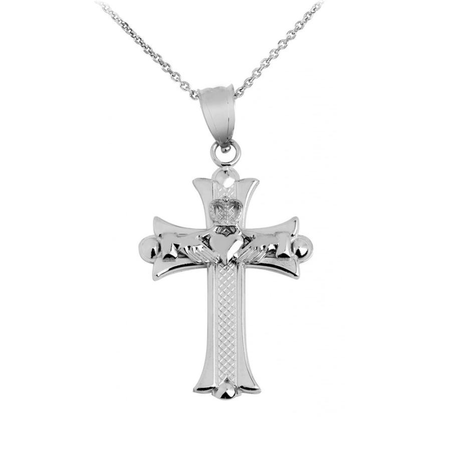 欲しいの 925 Sterling Silver Claddagh Cross Pendant Necklace, 18