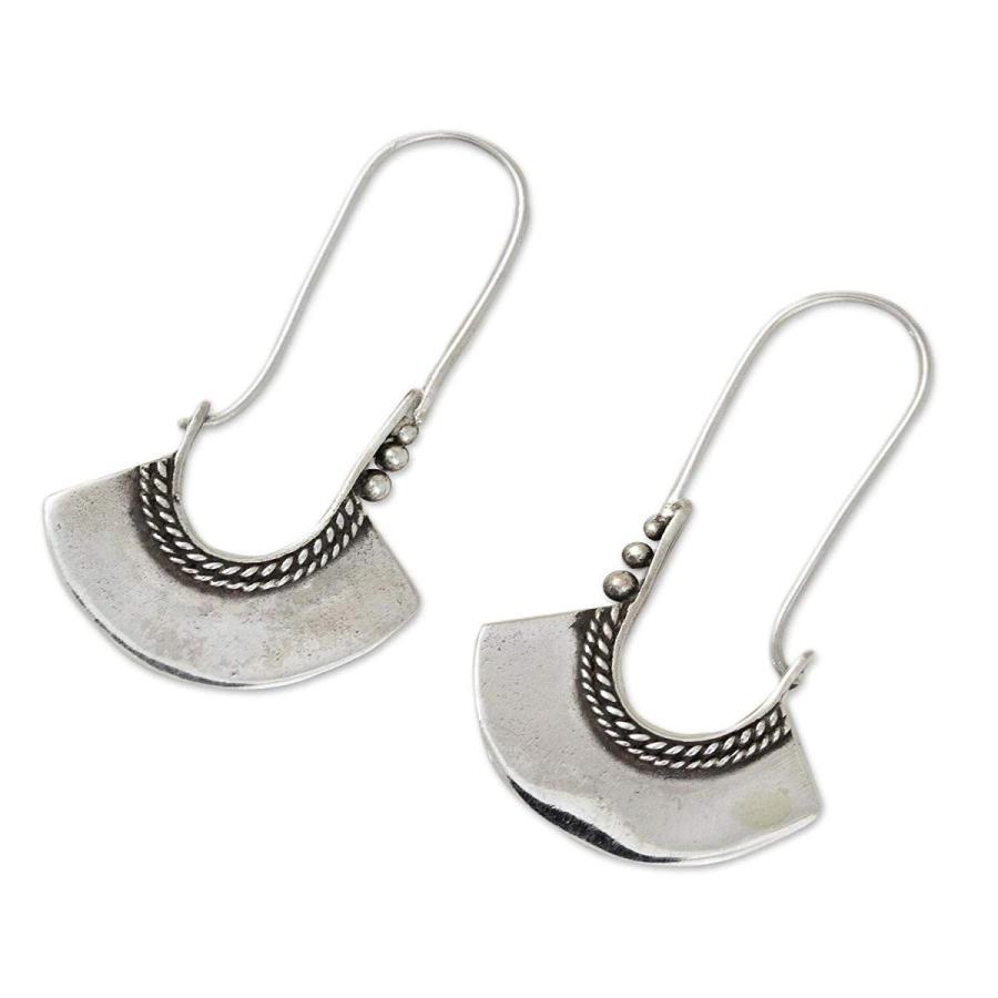 【レビューで送料無料】 NOVICA .925 Sterling Silver Hoop Earrings with Hook Backfinding, Hollo, 学生ショップ一番街 77b4f532