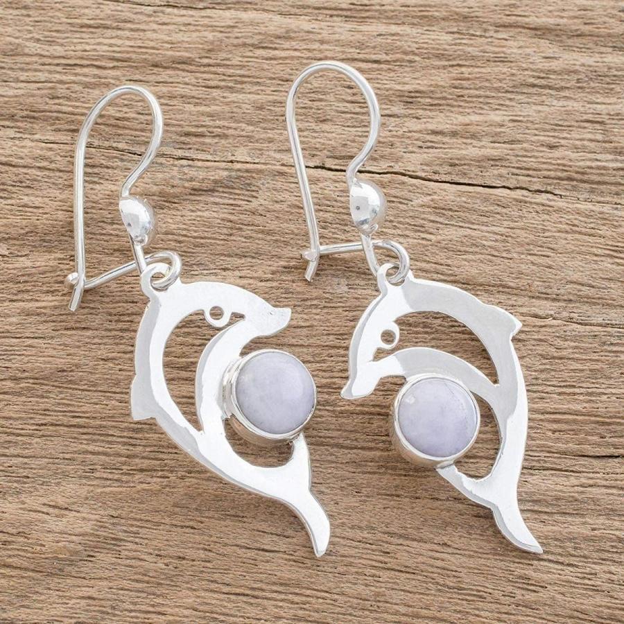 【初売り】 NOVICA Silver Lavender NOVICA Jade and .925 and Sterling Silver Dolphin Dangle Earrings,, カワベグン:ab745d0e --- airmodconsu.dominiotemporario.com