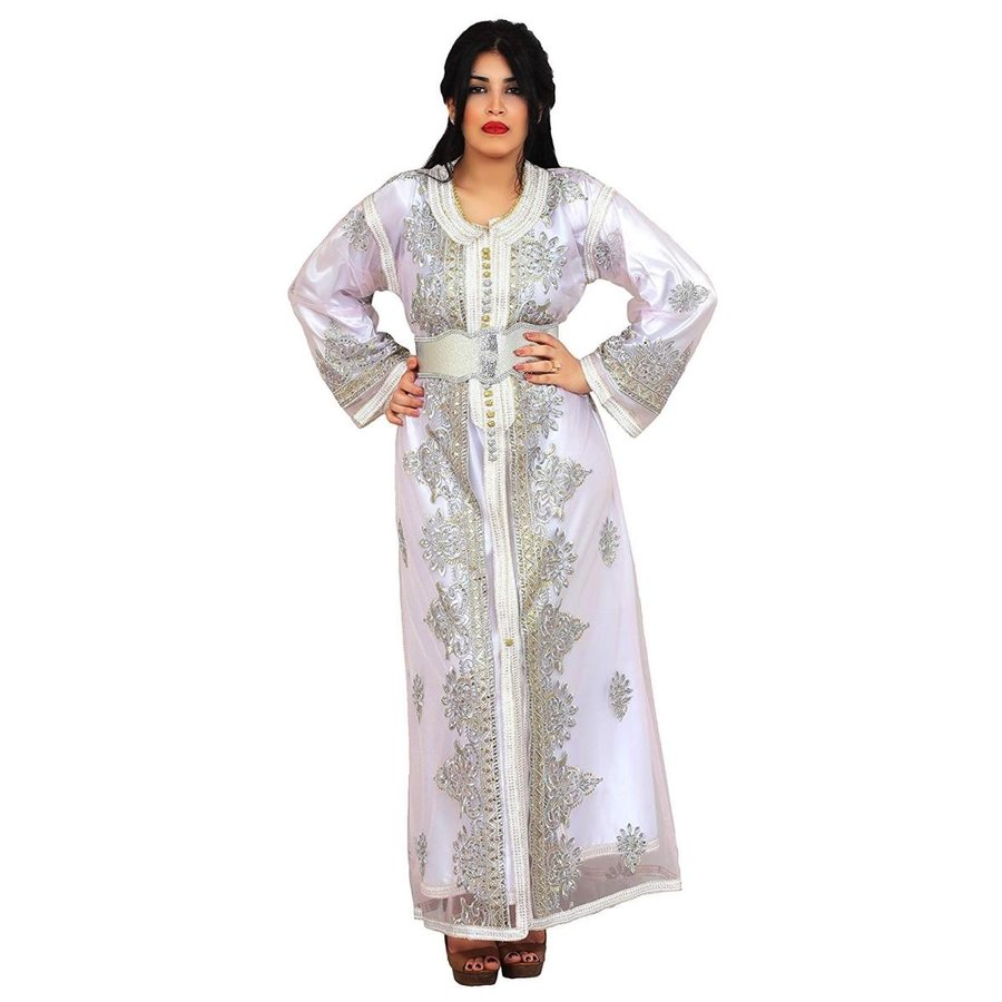 いいスタイル Moroccan Two Handmade Layers Caftan Women Handmade Embroidery Small Small To Embroidery Large Wh, DREAMBOX:5032db26 --- airmodconsu.dominiotemporario.com