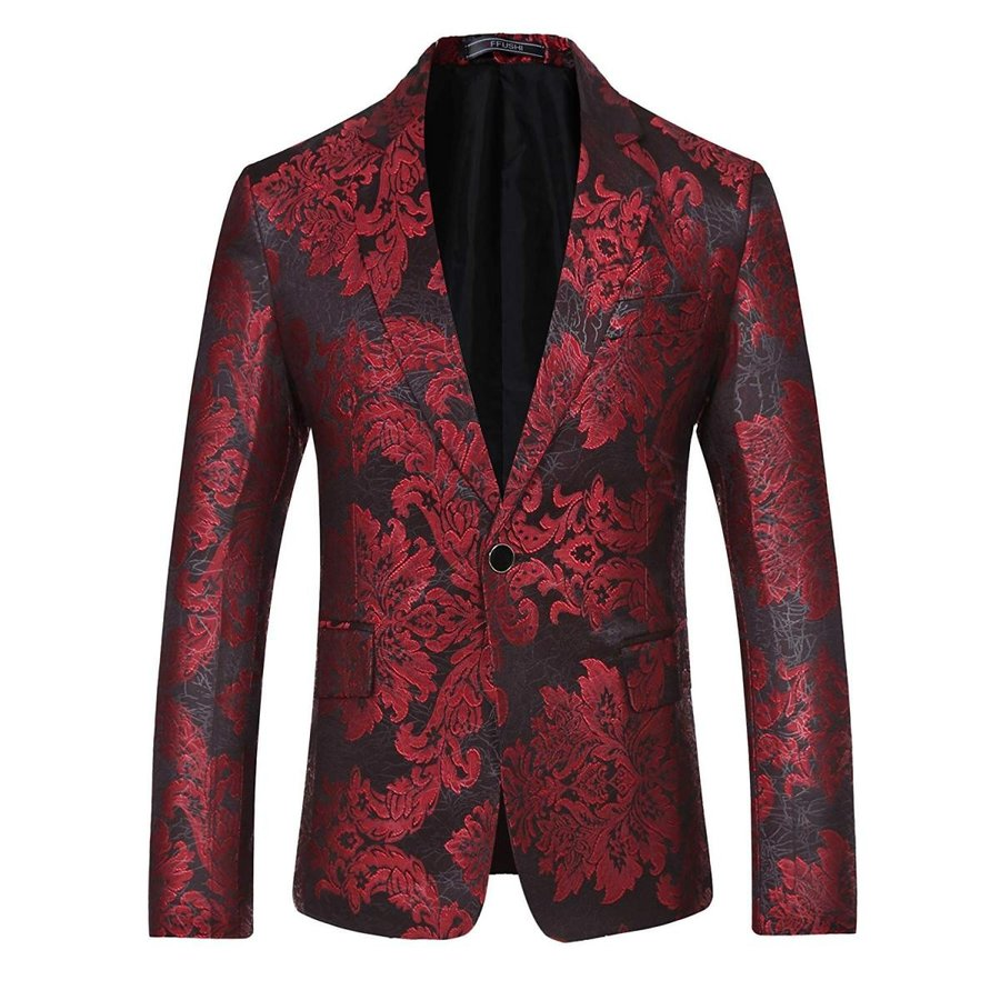 人気が高い YFFUSHI Mens Red Stylish One Button Slim Red Floral Stylish Printed Jacket Slim Fit Pic, minsobi:8d4ab7a1 --- airmodconsu.dominiotemporario.com