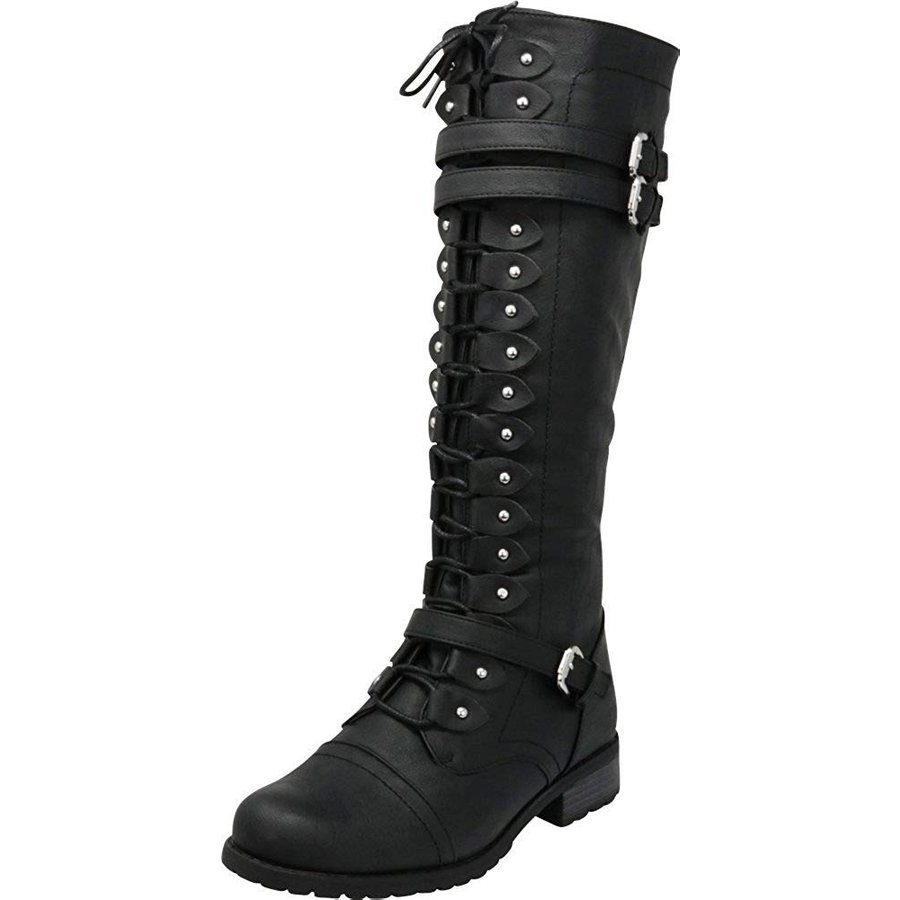Cambridge Select Womens Lace-Up Strappy Knee High Combat Stacked Heel Boot