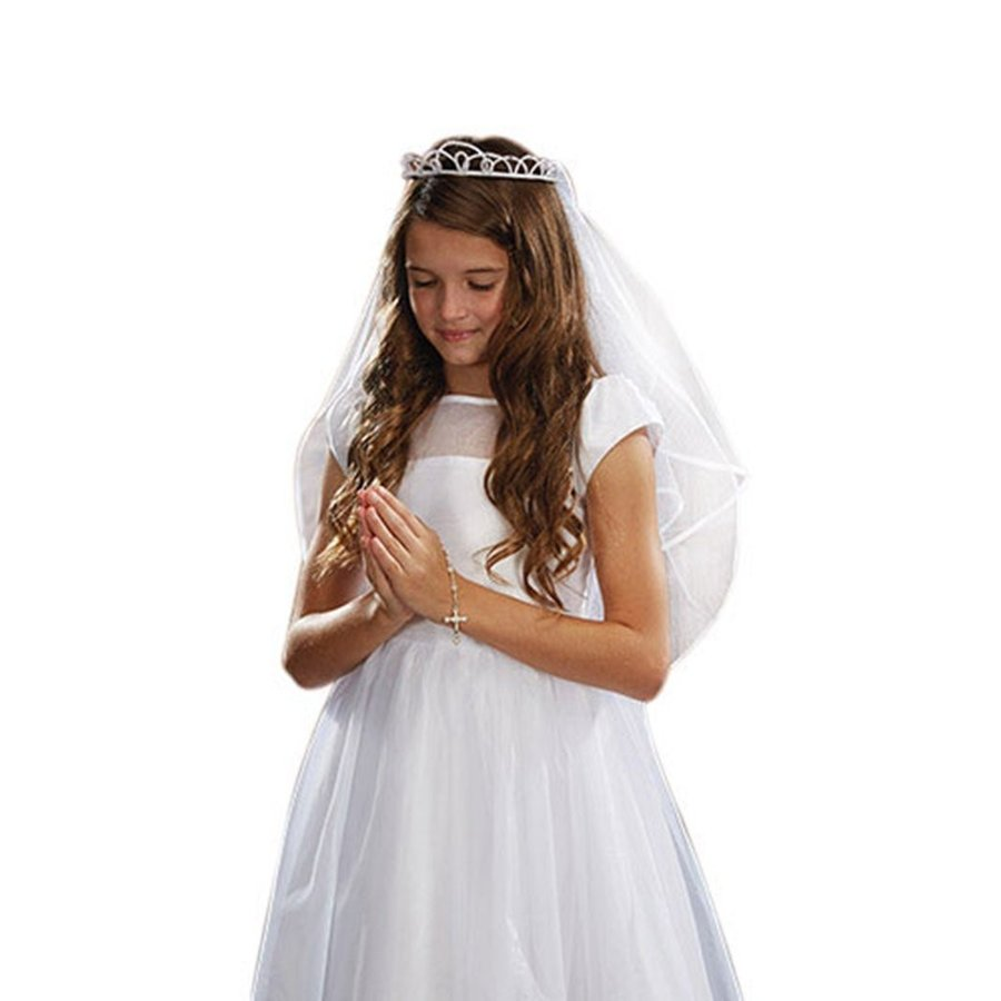 高速配送 Girls First Communion White Faux Satin Tiara and Satin Tulle Veil with Faux Pearl Tiara, 野田市:f15e80e2 --- airmodconsu.dominiotemporario.com