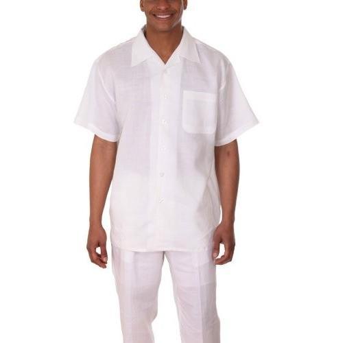 【楽天ランキング1位】 Milano Moda 100% Linen Walking Milano Set (Shirt Sleeve Shirt 100% Sleeve and Long Pant), 水府村:745a33b3 --- airmodconsu.dominiotemporario.com