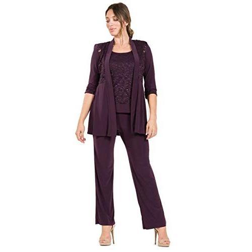 【正規品質保証】 R&M Richards Mother of The Bride Formal Pants Suit (12, Plum), 餅よし 4e862940