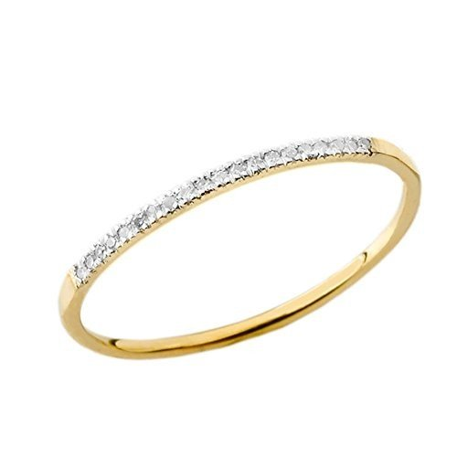 新品登場 Dainty Modern Diamond Stackable Wedding Band Stackable Wedding in 10k in Yellow Gold (Size, キイナガシマチョウ:7946bc96 --- airmodconsu.dominiotemporario.com