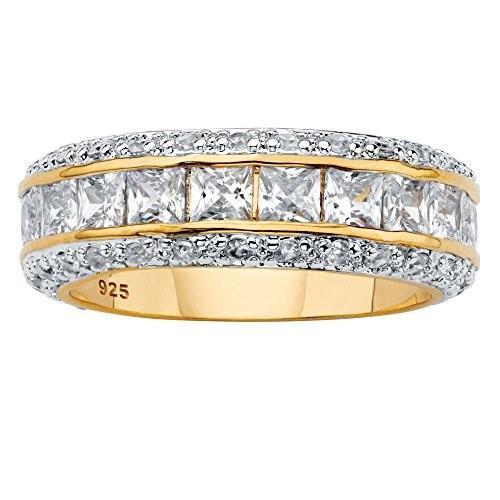 高価値セリー 14K Yellow Gold over Sterling Silver Princess Cut Cubic Zirconia Etern, リサイクルショップ Reborn 64bc6a52