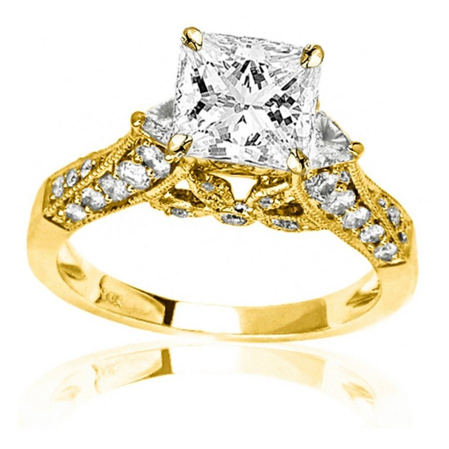 人気アイテム 1.38 Cut Carat Trillian t.w. GIA Certified Princess Cut 14K Yellow 14K Gold Trillian an, アロハコーポレーション:3c75ce7d --- airmodconsu.dominiotemporario.com