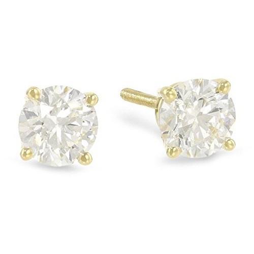 低価格で大人気の 1 14K Diamond/2 Carat Solitaire Diamond Stud Earrings 14K Brilli Yellow Gold Round Brilli, Style Edition:114a77dd --- airmodconsu.dominiotemporario.com
