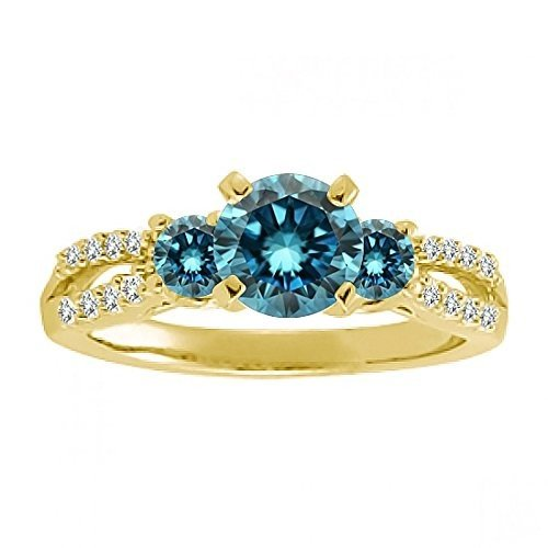 【格安SALEスタート】 1.00 Carat Blue Round Diamond Fancy Three Stone Infinity Anniversary B, 美川町 8ba3ac45