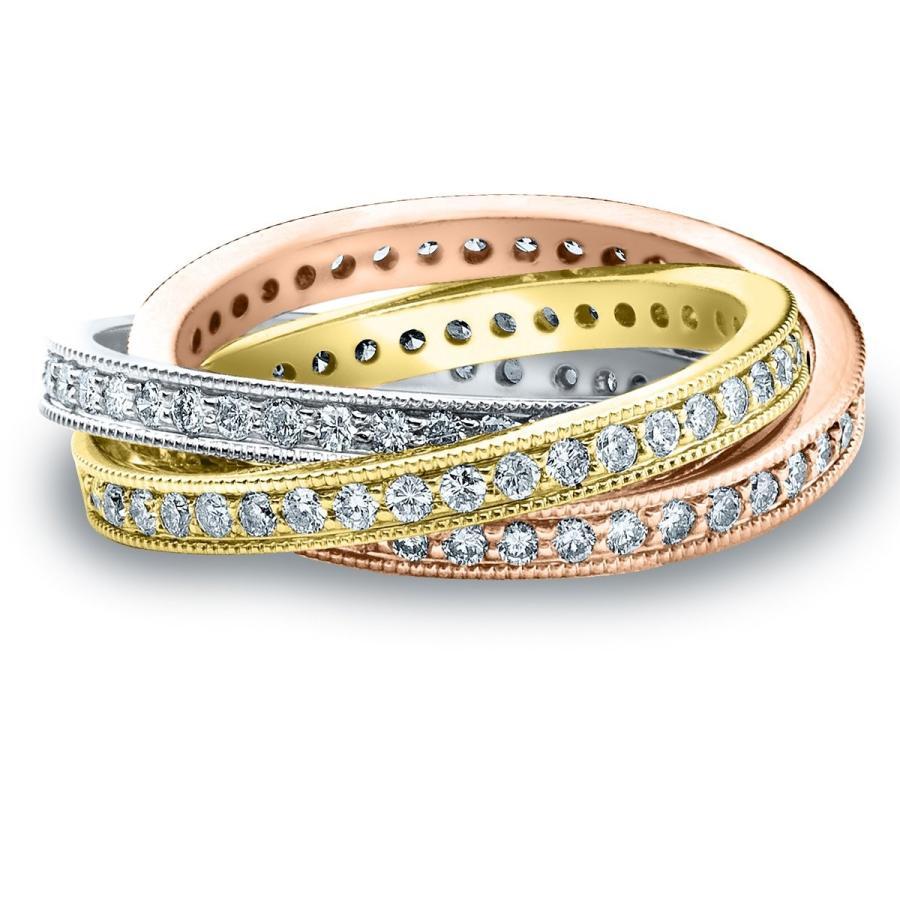 【送料無料】 18K Tri-Color S Gold Band Diamond 3 Band Tri-Color Rolling Ring (1.5 cttw, G-H Color, S, コシジマチ:63ad8147 --- airmodconsu.dominiotemporario.com