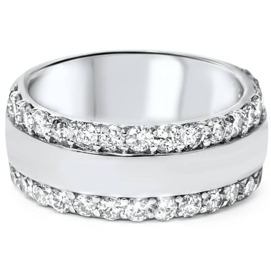 格安 2 Wedding 3 14K/4ct Diamond Double Row Wide 8mm Wide Wedding Band 14K White Gold - Size, シャイニングパーツ(カー用品):2a577d94 --- airmodconsu.dominiotemporario.com