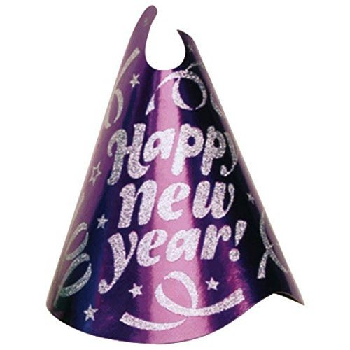 Amscan Rocking New Year 's Party Confetti Glitter Cone Hat Accessory ( 1パック